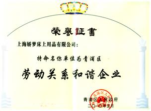 劳动关系和谐企业证书